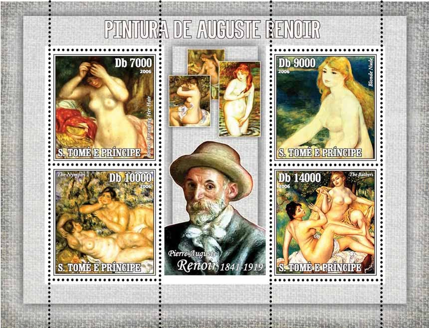 Paintings of Renoir 4 v = 40 000 Db - Issue of Sao Tome and Principe postage stamps