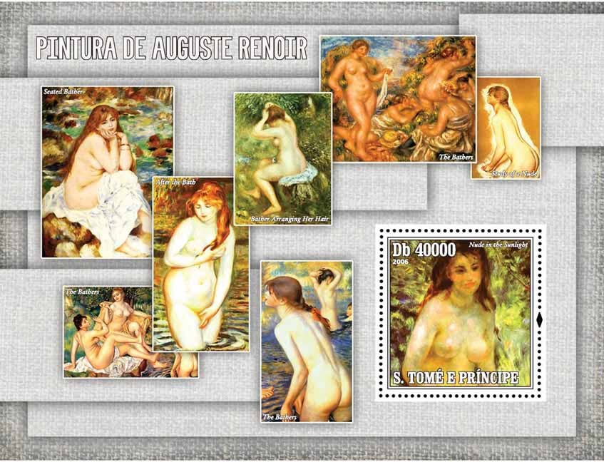 Paintings of Renoir S/s = 40 000 Db - Issue of Sao Tome and Principe postage stamps