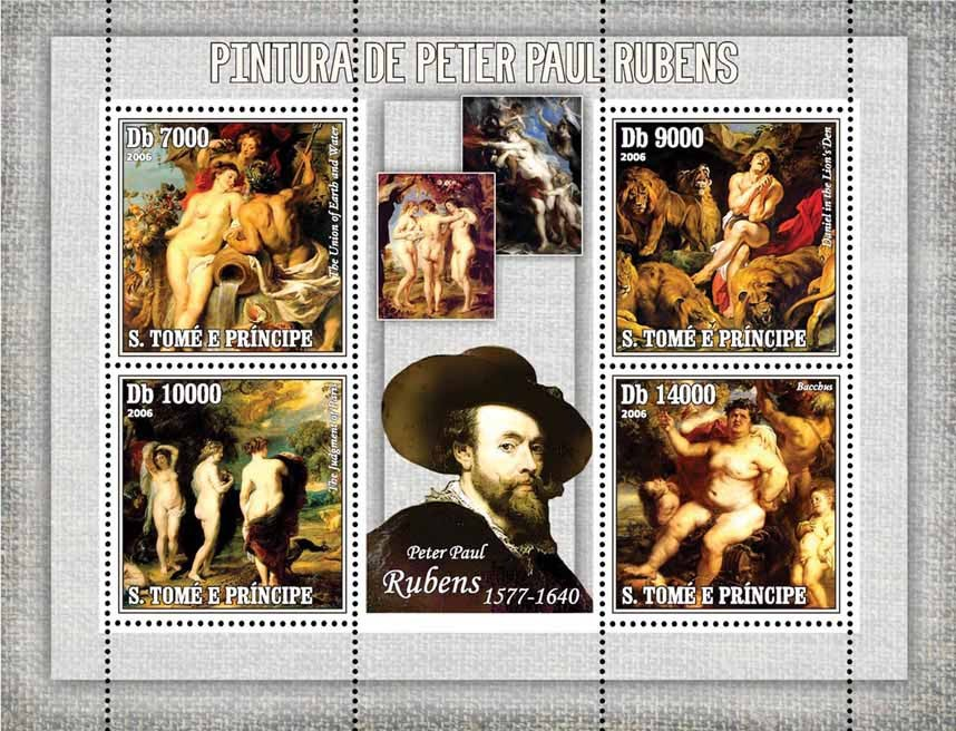 Paintings of Rubens 4 v = 40 000 Db - Issue of Sao Tome and Principe postage stamps