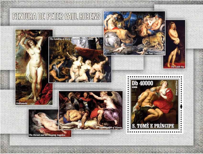 Paintings of Rubens S/s = 40 000 Db - Issue of Sao Tome and Principe postage stamps