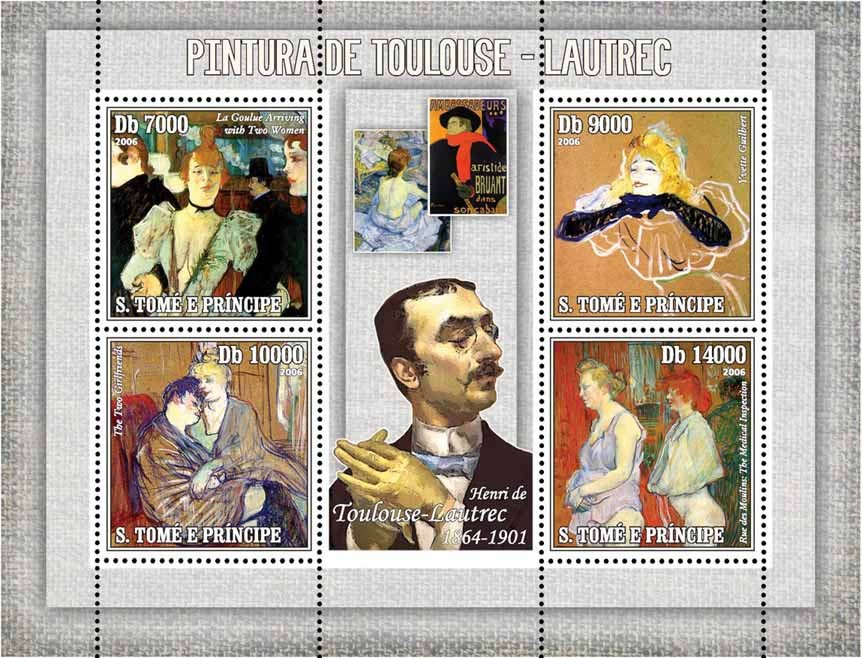 Paintings of Toulouse-Lautrec 4 v = 40 000 Db - Issue of Sao Tome and Principe postage stamps