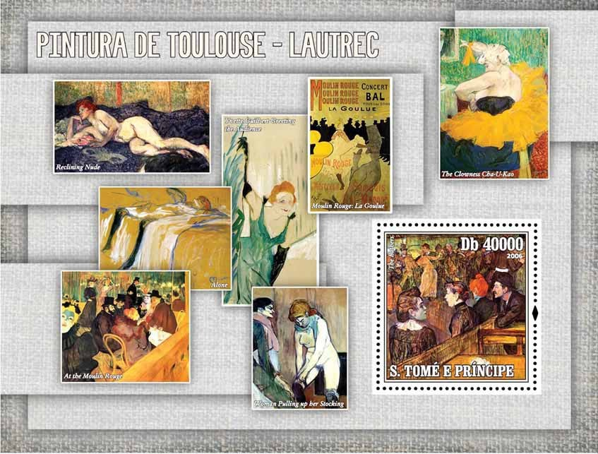 Paintings of Toulouse-Lautrec S/s = 40 000 Db - Issue of Sao Tome and Principe postage stamps