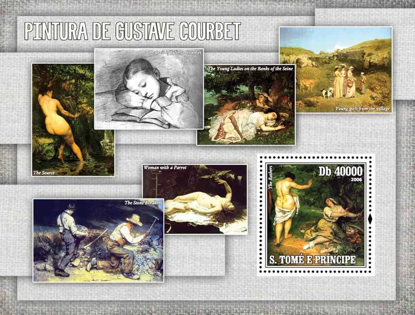 Paintings of Courbet S/s = 40 000 Db - Issue of Sao Tome and Principe postage stamps