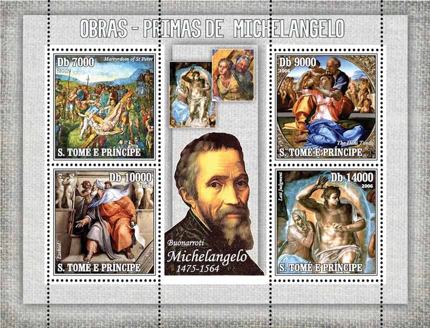 Masterpieces of Michelangelo 4 v = 40 000 Db - Issue of Sao Tome and Principe postage stamps