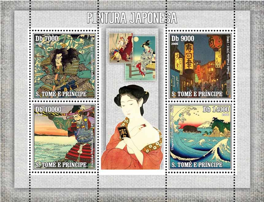 Japanese paintings 4 v = 40 000 Db - Issue of Sao Tome and Principe postage stamps
