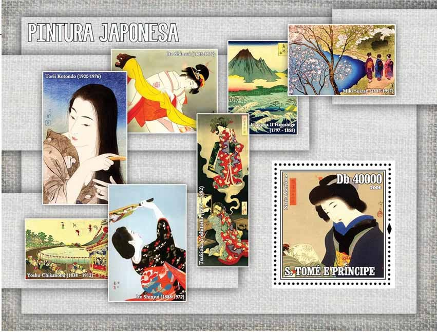 Japanese paintings S/s = 40 000 Db - Issue of Sao Tome and Principe postage stamps