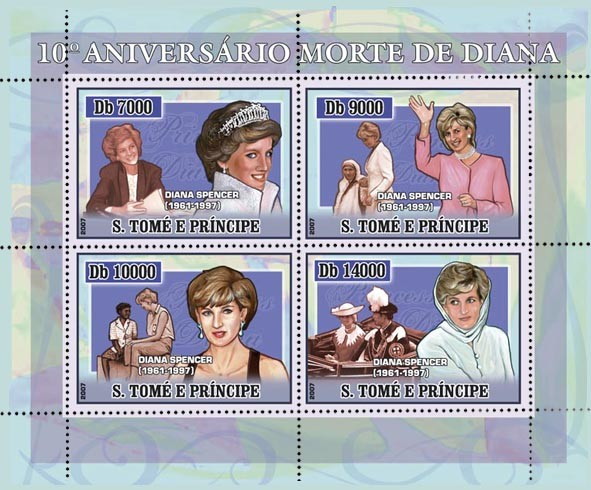 10th Anniversary Tragedy Diana 4 v - 40 000 Db - Issue of Sao Tome and Principe postage stamps
