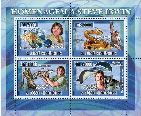 Tibute to Steve Irwin (fish, snake, crocodile, whale) 4 v - 40 000 Db - Issue of Sao Tome and Principe postage stamps