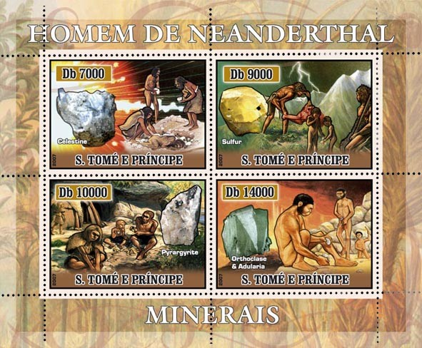 Neandartal people, minerals 4 v - 40 000 Db - Issue of Sao Tome and Principe postage stamps