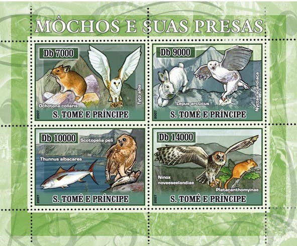 Owls and their prey 4 v - 40 000 Db - Issue of Sao Tome and Principe postage stamps