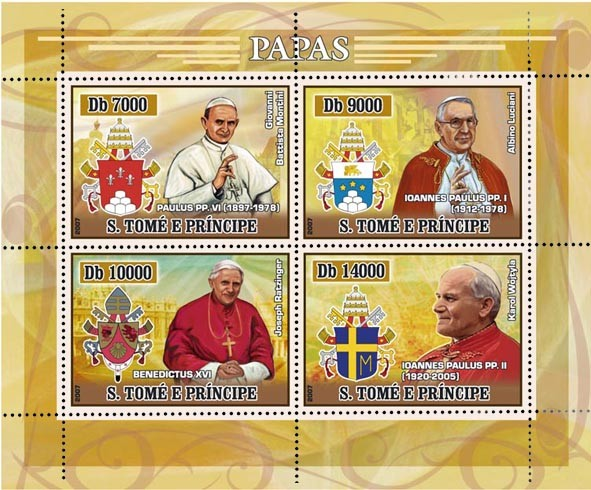 Popes (J.P. II, Benedict) 4 v - 40 000 Db - Issue of Sao Tome and Principe postage stamps