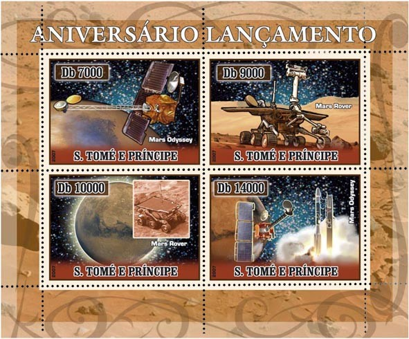 Space (Mars) 4 v - 40 000 Db - Issue of Sao Tome and Principe postage stamps