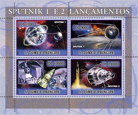 Space (Sputnik I & II) 4 v - 40 000 Db - Issue of Sao Tome and Principe postage stamps