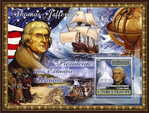 3rd American President - T. Jefferson, sail ship, indigenous people s/s - 40 000 Db - Issue of Sao Tome and Principe postage stamps