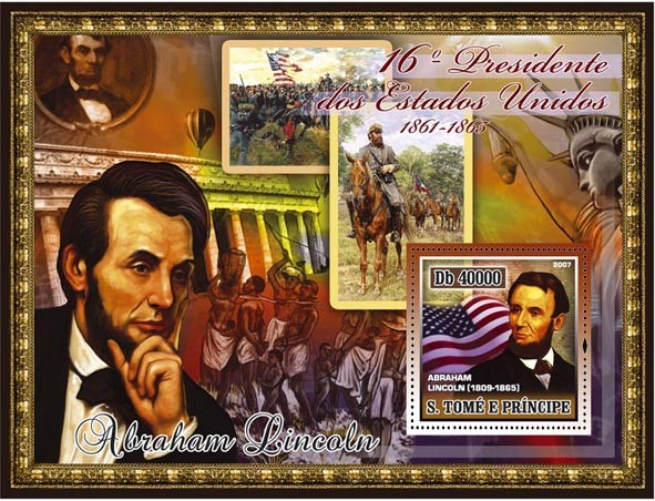 16th American President - A. Lincoln, civil war, abolition of slavery s/s - 40 000 Db - Issue of Sao Tome and Principe postage stamps