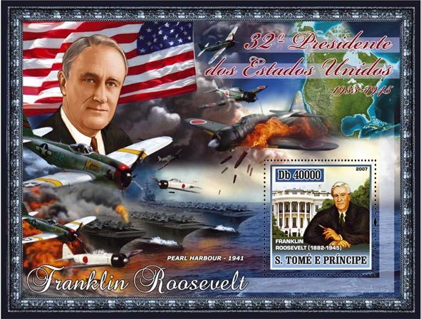 32nd American President - F. Roosevelt, Pearl Harbour, military aircraft s/s - 40 000 Db - Issue of Sao Tome and Principe postage stamps