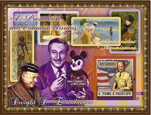 34th American President - D. Eisenhower, Disney, impressionism paintings s/s - 40 000 Db - Issue of Sao Tome and Principe postage stamps