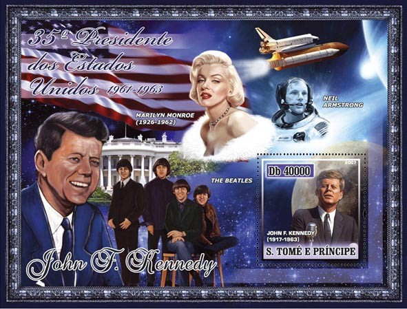 35th American President - J. F. Kennedy, Monroe, Beatles, Space - Armstrong s/s - 40 000 Db - Issue of Sao Tome and Principe postage stamps