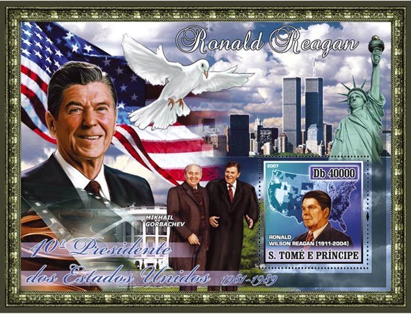 40th American President - R. Reagan, peace-pigeon, Gorbachev s/s - 40 000 Db - Issue of Sao Tome and Principe postage stamps