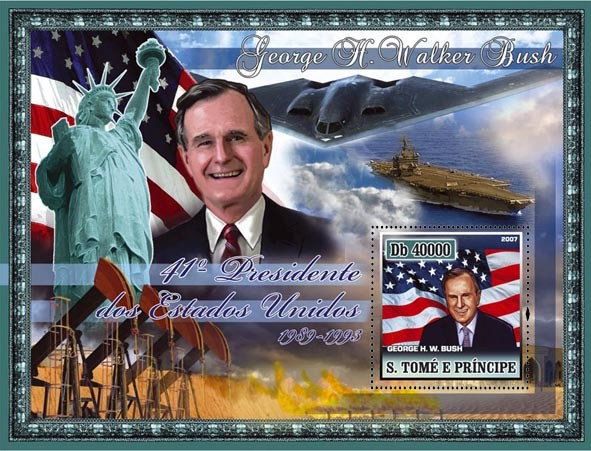 41st American President - G.H.W. Bush, Kuwait war, military ships s/s - 40 000 Db - Issue of Sao Tome and Principe postage stamps