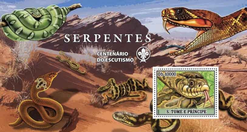 Snakes - Issue of Sao Tome and Principe postage stamps