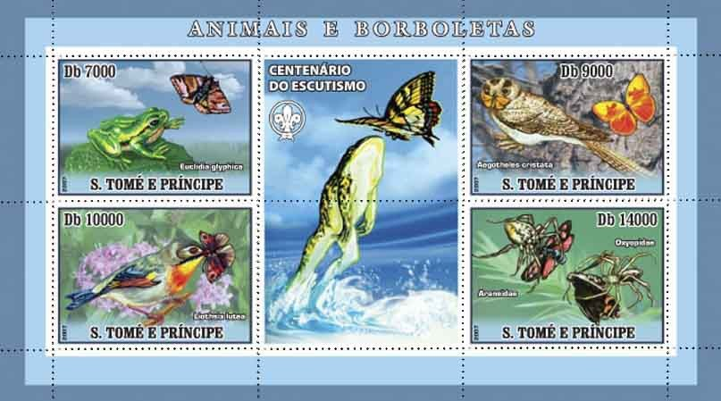 Butterflies, frogs, birds, spiders - Issue of Sao Tome and Principe postage stamps