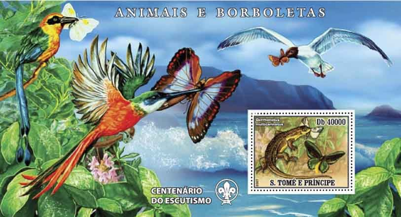 Butterflies, birds, lizard - Issue of Sao Tome and Principe postage stamps