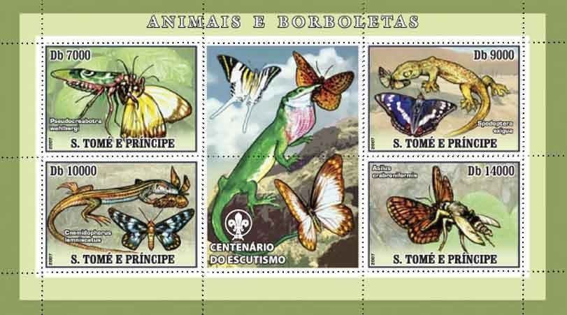 Butterflies, lizards, insects - Issue of Sao Tome and Principe postage stamps