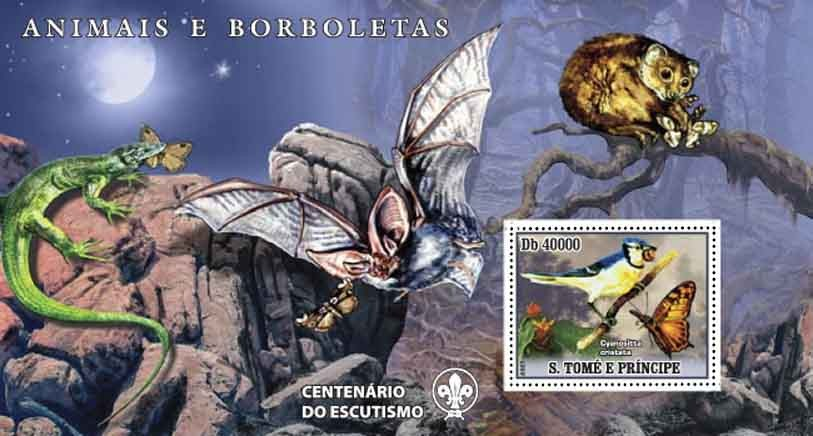Butterflies, bird, lizard, bat - Issue of Sao Tome and Principe postage stamps
