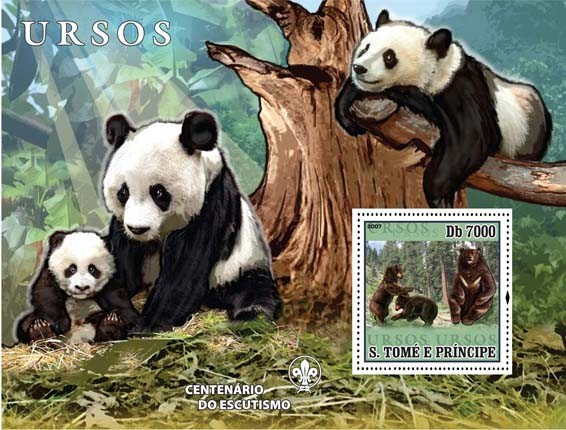 Bears (pandas) - Issue of Sao Tome and Principe postage stamps
