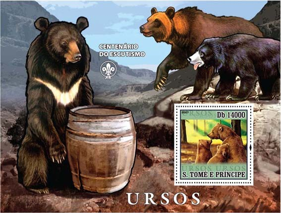 Bears - Issue of Sao Tome and Principe postage stamps