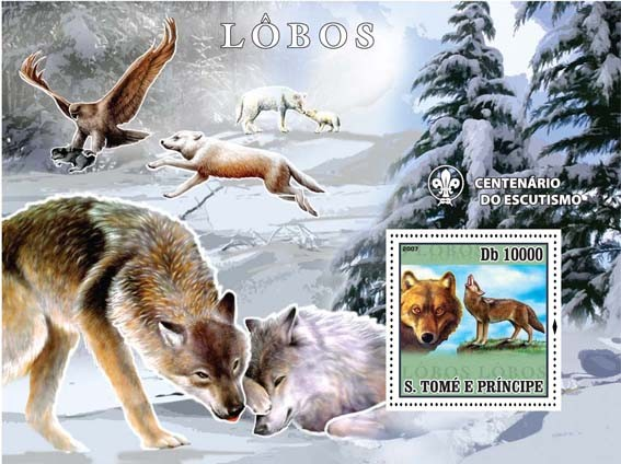 Wolfes - Issue of Sao Tome and Principe postage stamps