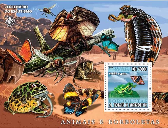 Butterflies, frogs, snake, lizards - Issue of Sao Tome and Principe postage stamps