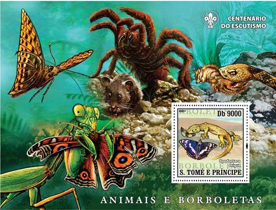 Butterflies, spider, snake, grasshopper - Issue of Sao Tome and Principe postage stamps