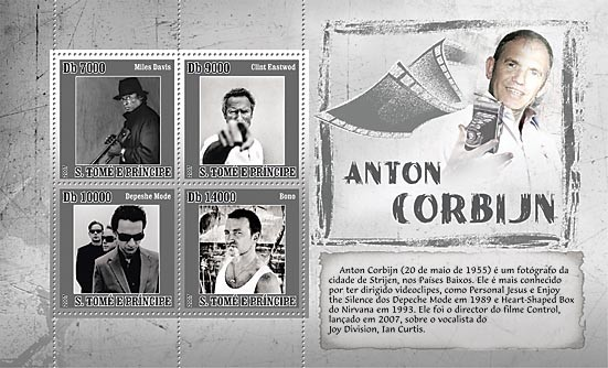 A.Corbinj - photographs (Clint Eastwood, Depeche Mode, etc) - Issue of Sao Tome and Principe postage stamps