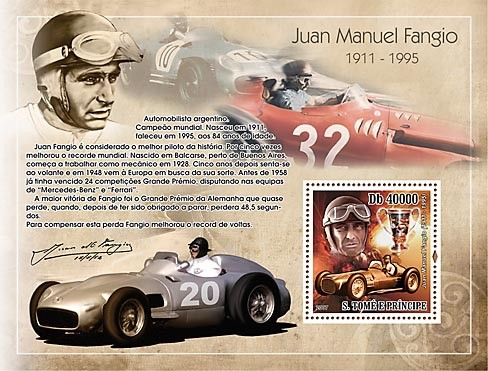Car racing - Juan Manuel Fangio - Issue of Sao Tome and Principe postage stamps