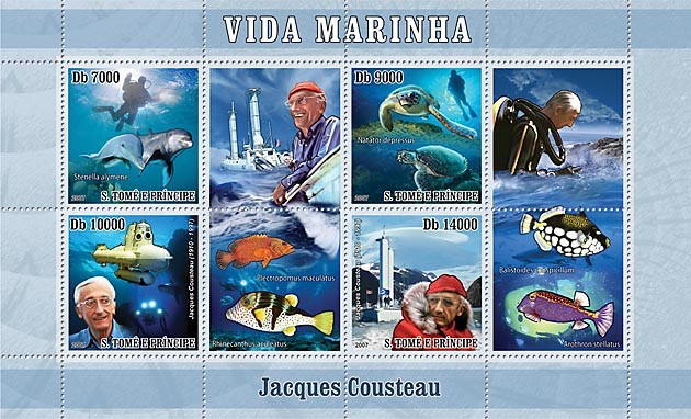 Cousteau - turtle - fish - dolphin - submarine - Issue of Sao Tome and Principe postage stamps