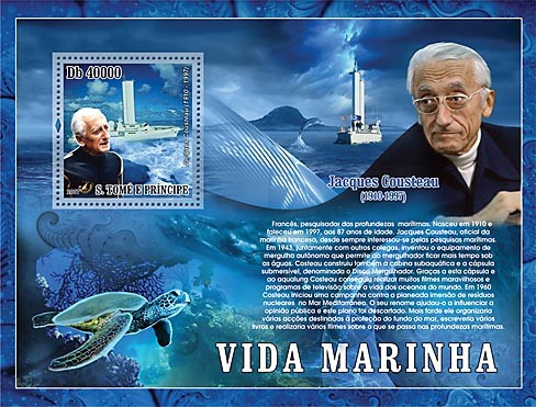 Cousteau - ship - turtle - Issue of Sao Tome and Principe postage stamps