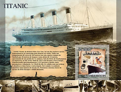 Cruise ships - Titanic - Issue of Sao Tome and Principe postage stamps