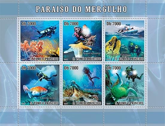 Diving - fish - turtle - Issue of Sao Tome and Principe postage stamps