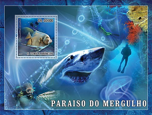 Diving - fish - shark - Issue of Sao Tome and Principe postage stamps