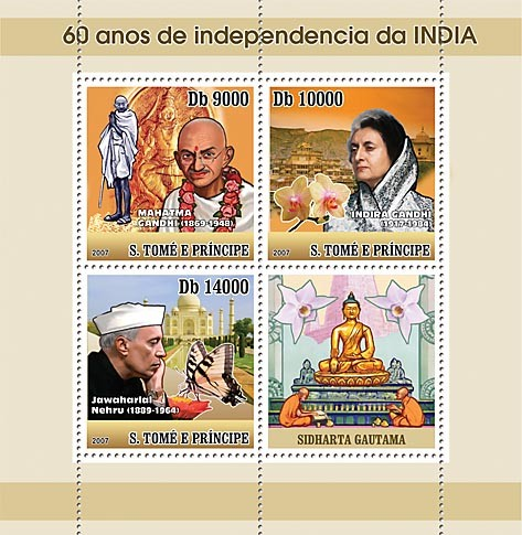 60 years India Independence - Gandhi - Issue of Sao Tome and Principe postage stamps
