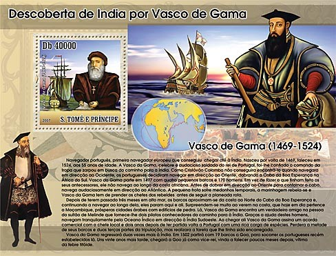 Discovery of India by Vasco Da Gama - sail ships - Issue of Sao Tome and Principe postage stamps