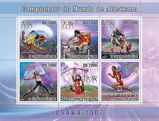 Osaka Athletics Championship - Issue of Sao Tome and Principe postage stamps