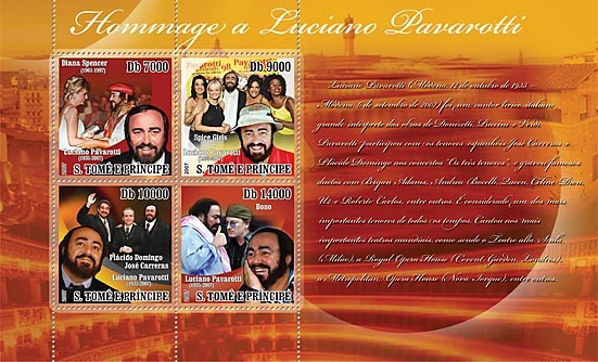 Homage to Pavarotti (Diana, Spice Girls) - Issue of Sao Tome and Principe postage stamps