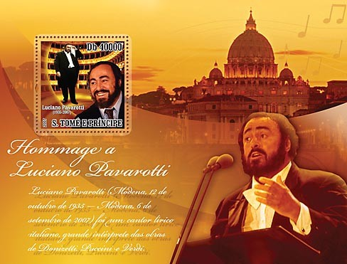 Homage to Pavarotti - Issue of Sao Tome and Principe postage stamps