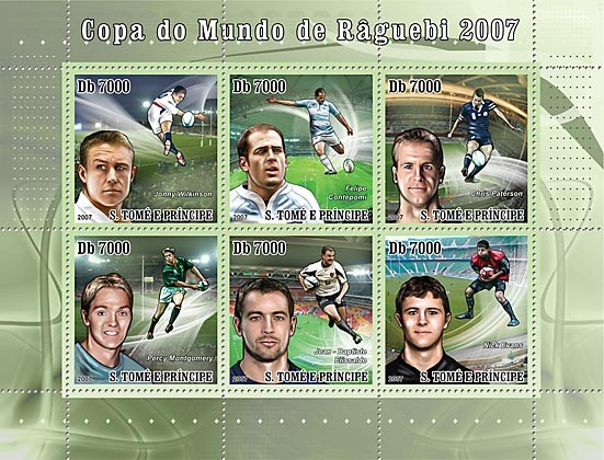 Rugby - Issue of Sao Tome and Principe postage stamps