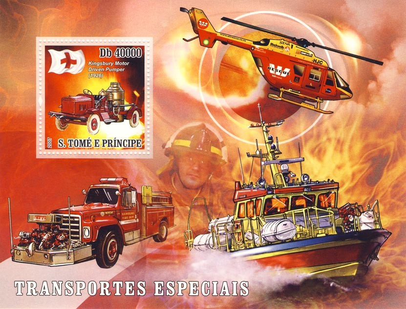 Special Transport (Fire Rescue Ship, Car,  Helicopter) - Issue of Sao Tome and Principe postage stamps