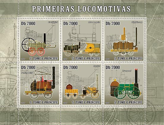 First trains - Steam trains - Issue of Sao Tome and Principe postage stamps