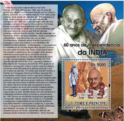 Independence of India - Gandhi - Issue of Sao Tome and Principe postage stamps